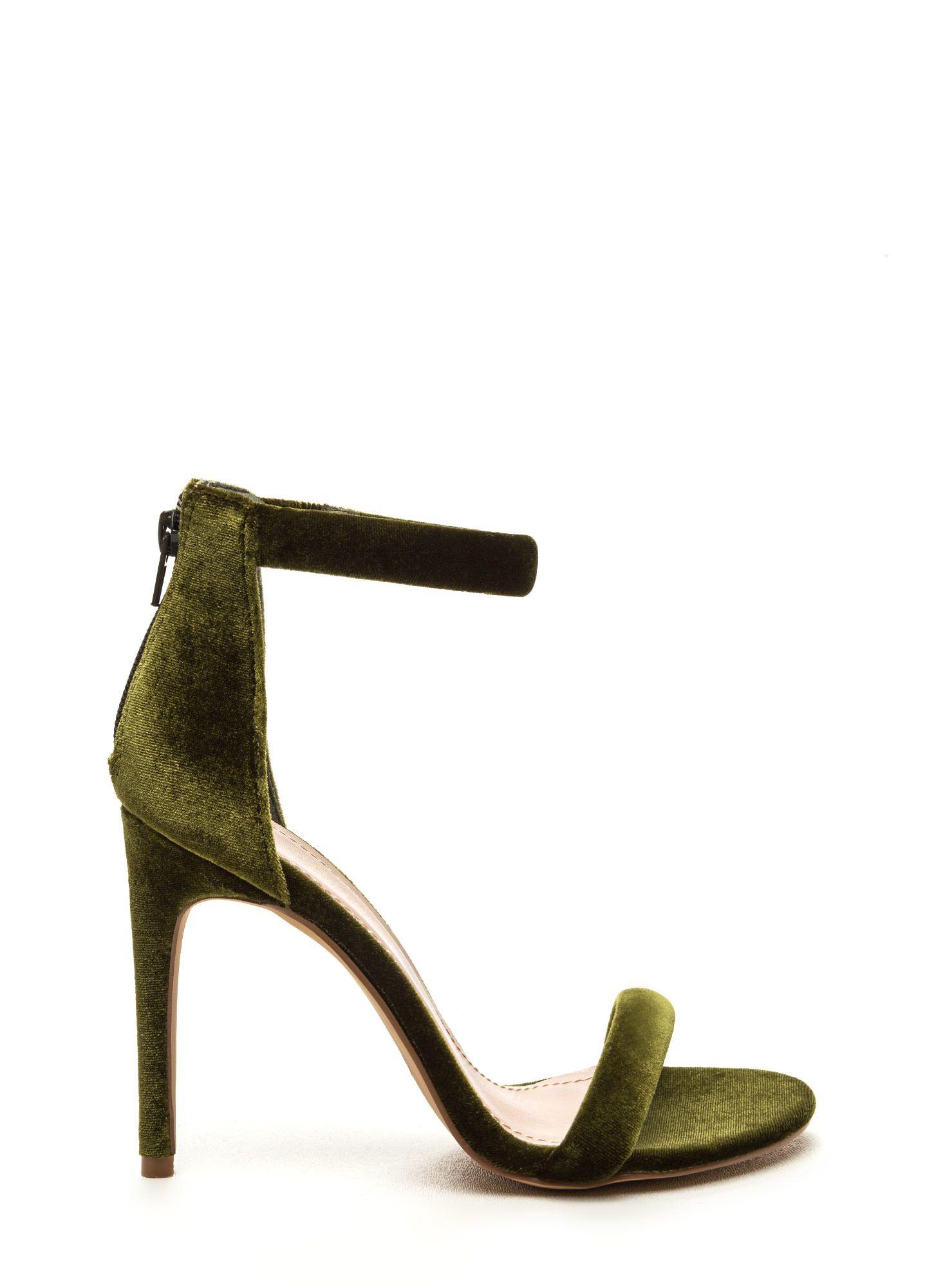 Velvet Allure Ankle Strap Heels OLIVE