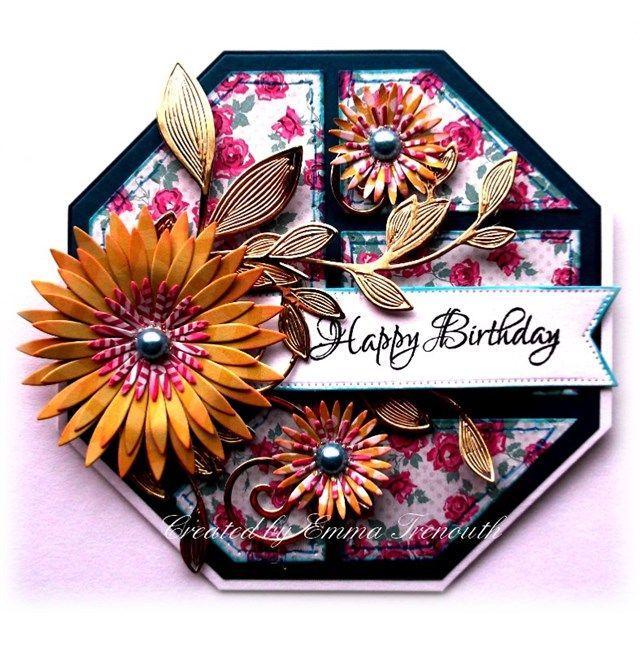 Birthday card, crealies patchwork die, spellbinders aster and foliage