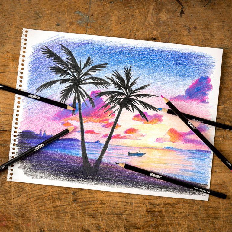 Dreamy Sunset Ema Sivac Colored Pencils 2016 Art Art Drawings