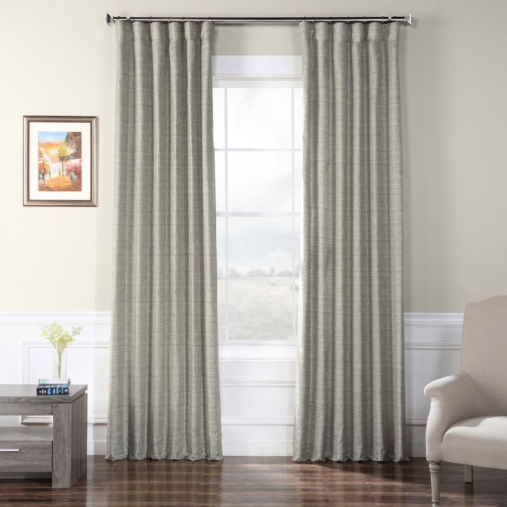 Exclusive Fabrics Furnishings Chickadee Faux Raw Silk Curtain In