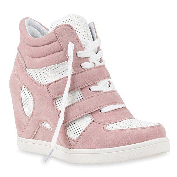 Sportliche Damen Sneakers Sneaker Wedges Glitzer Lochung Keilabsatz