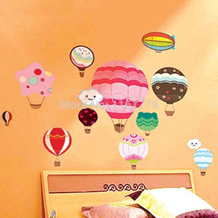 LP Fire Balloon 3D DIY Home Decor Fashion PVC Wall Decorative Wall ...