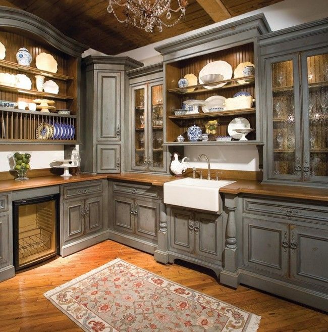 Neatly Arranged See Through Cabinets