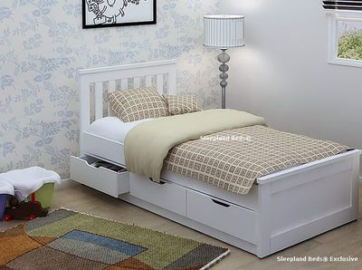 hot sale online 91a6a 3ada1 New Oak Or White Single Storage Cabin Bed Frame With Drawers ...