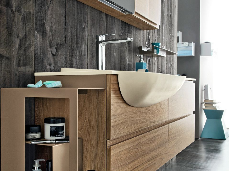 Semi inset washbasin with integrated countertop hito collection by