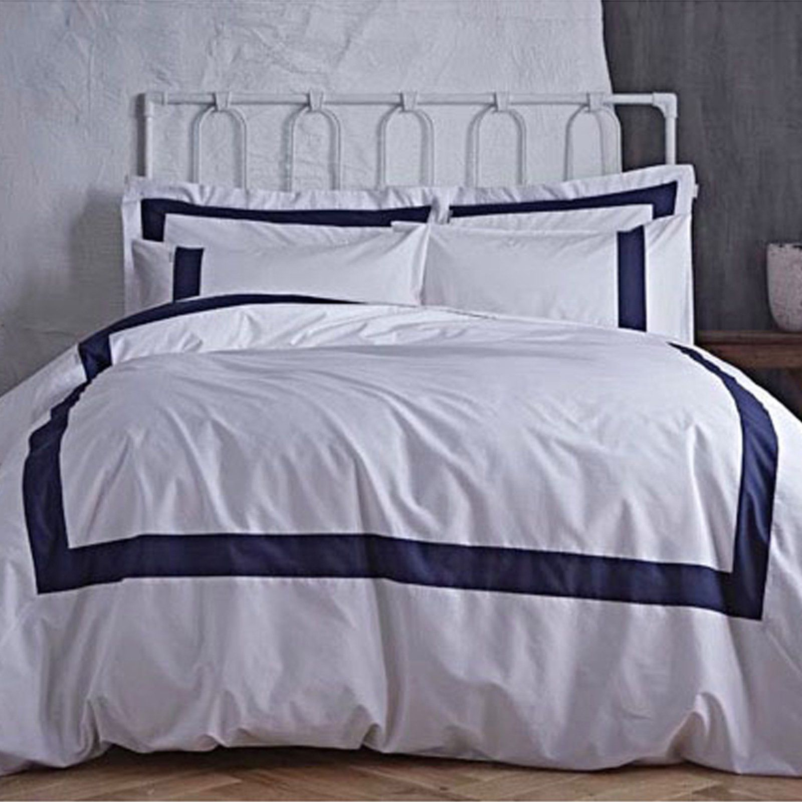Bianca Tailored Navy Super King Duvet Cover & Pillowcase