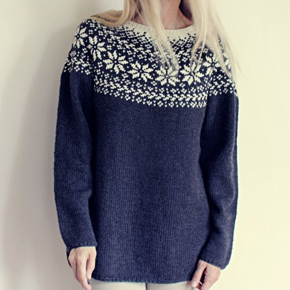 d67f363f NORWEGIAN WOODS SWEATER - (SKOGSTJERNE GENSER) Knitting pattern PDF for a  beautiful, feminine Norwegian sweater. Loose fit and very comfortable - but  also ...