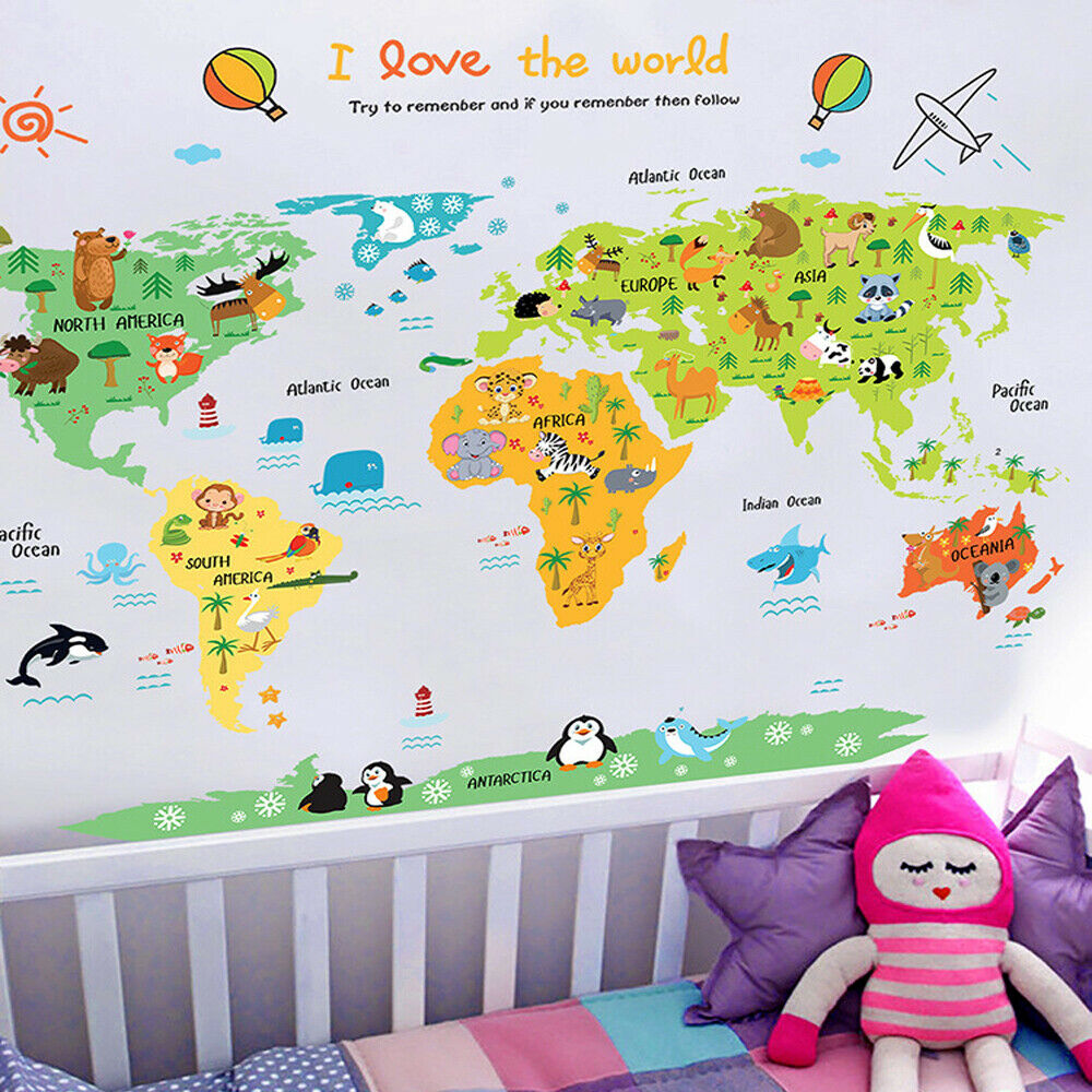 Cartoon World Map Pvc Diy Self Adhesive Vinyl Wall Stickers Bedroom Home Decor Wall Stickers Bedroom Wall Stickers World Wall Stickers Kids
