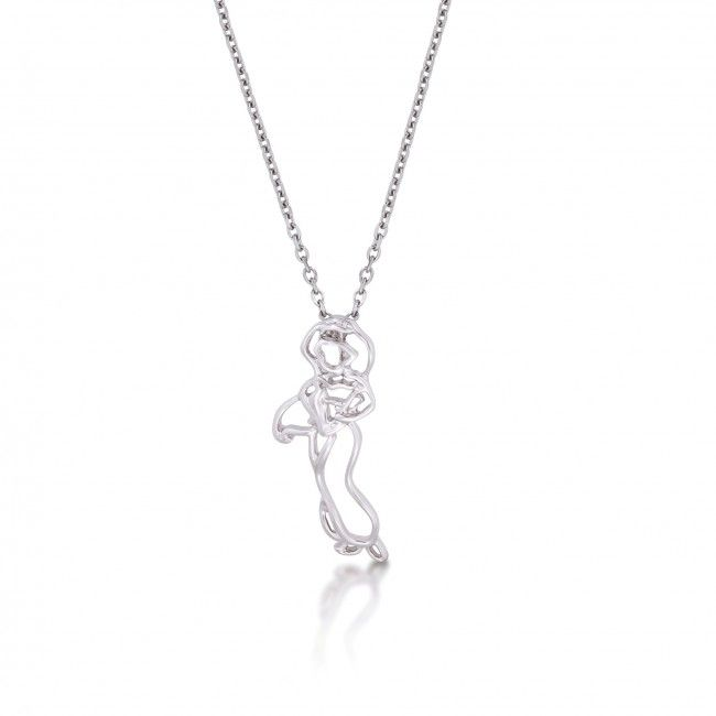 Disney Couture White Gold-Plated Peter Pan Tinkerbell Outline Character Necklace V4N3e