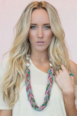 layered braided seed bead necklace #boho