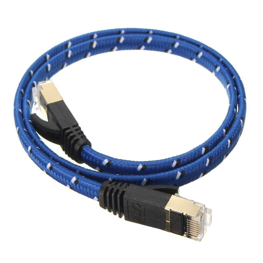 50cm Braided Cat 7 10 Gigabit Ethernet Cable Modem Router Patch Rj45 Lan Network Blue Modem Router Cable Modem Router Cable Modem