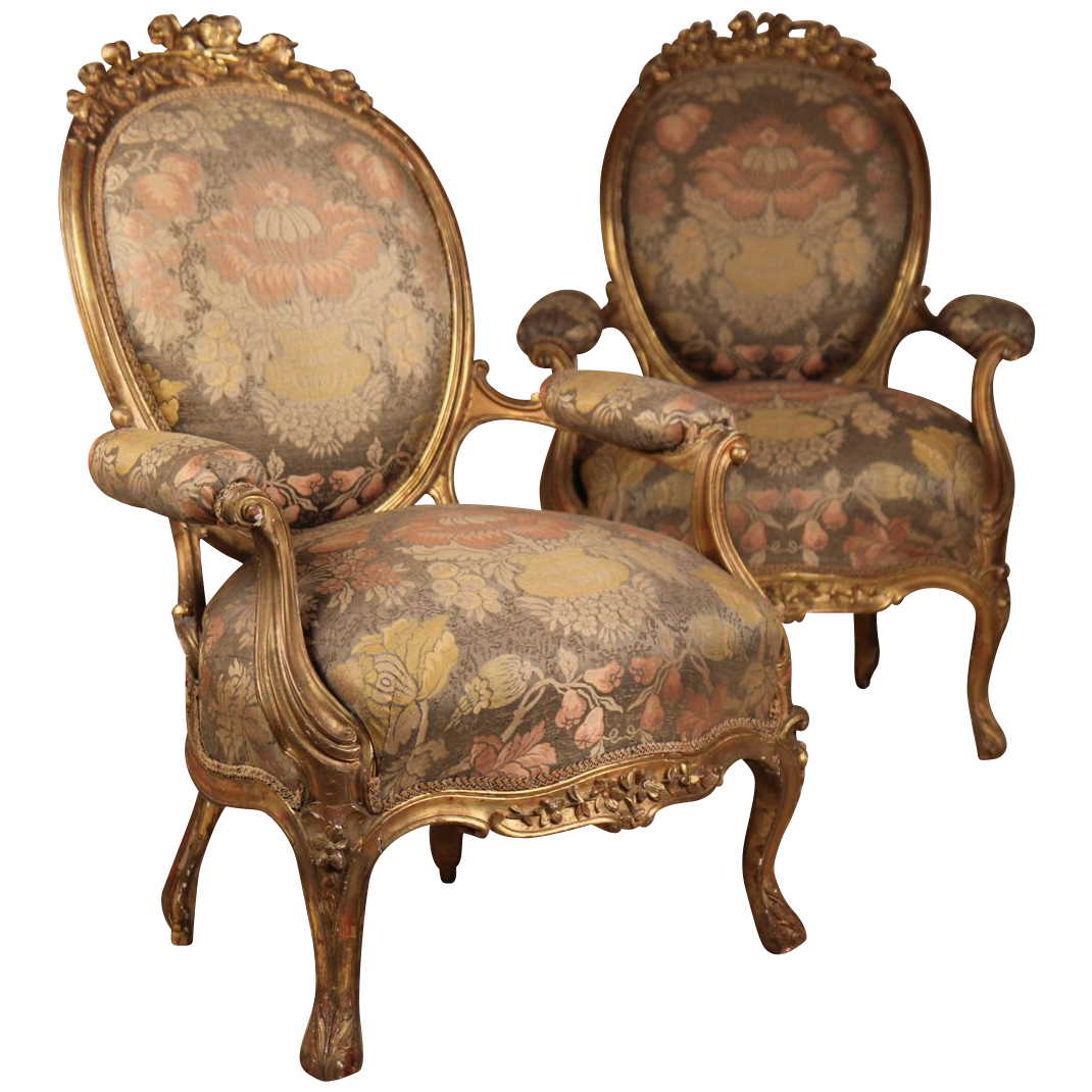 pair of french louis xv style rococo revival gilt fauteuil antique arm chairs chairs. Black Bedroom Furniture Sets. Home Design Ideas