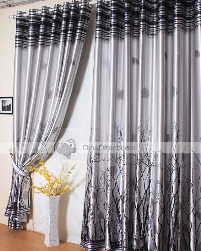 Grey Curtains On Sale Grey Tree Print Tailored Drape Cheap Black Out Cu