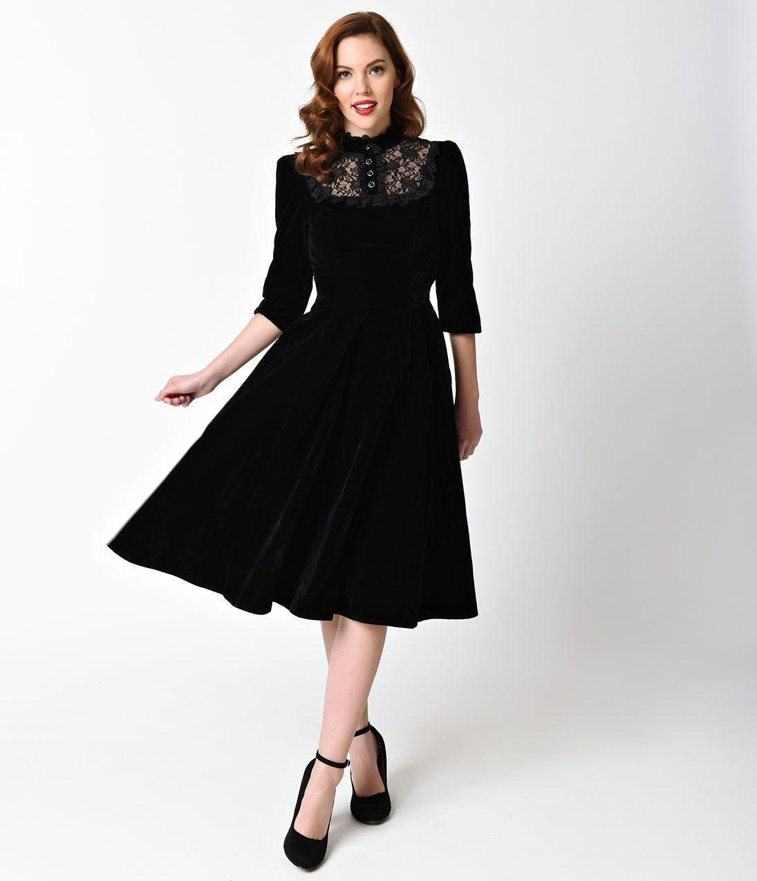 Vintage Style Black Velvet Lace Nightshade Half Sleeve Swing Dress Black Cocktail Dress Sleeved Swing Dress Dresses [ 1275 x 1095 Pixel ]