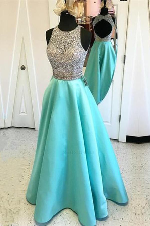 Long Aline Teal Beading Open Back Satin Modest FloorLength Prom Dresses RS154 - Prom dresses modest, Modest evening dress, Satin prom dress, Prom party dresses, Cute prom dresses, A line prom dresses - Long Aline Teal Beading Open Back Satin Modest FloorLength Prom Dresses RS154, SRS, This dress could be custom made, there are no extra cost to do custom size and color