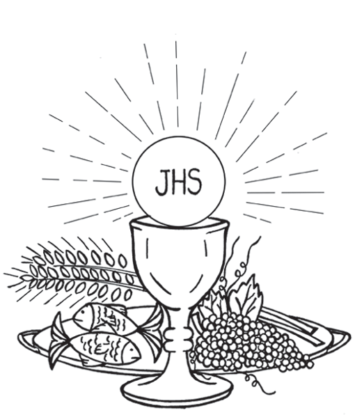 Holy Eucharist First Communion Catholic Coloring Page Corpus