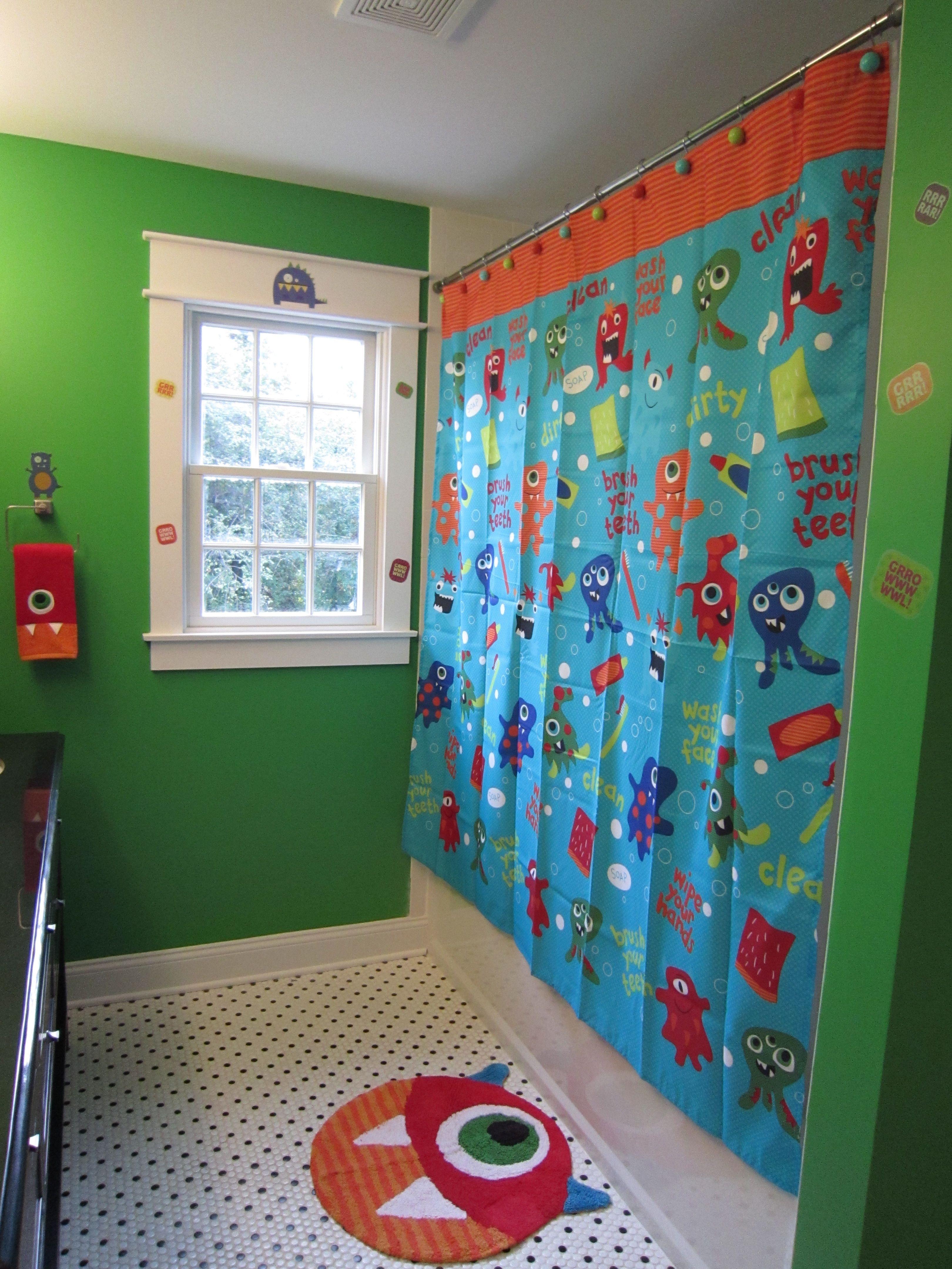 Boys Monster Bathroom. Monsters bathroom nursery wall art SET of 4   Kids bathroom