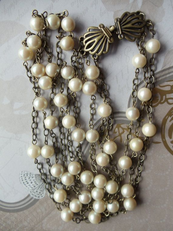 Vintage Style Necklace  Pearl Necklace by Charsfavoritethings, $38.00