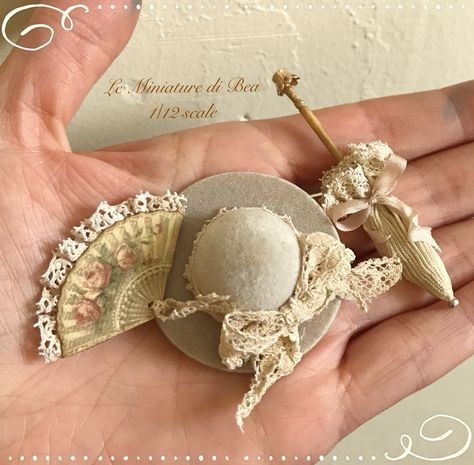 1:12 retro shabby hat - miniature - dolls house - hand made #miniaturedolls