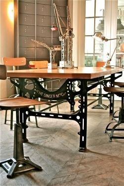 Reciclaje de muebles con antiguas m quinas de coser for Muebles industriales antiguos