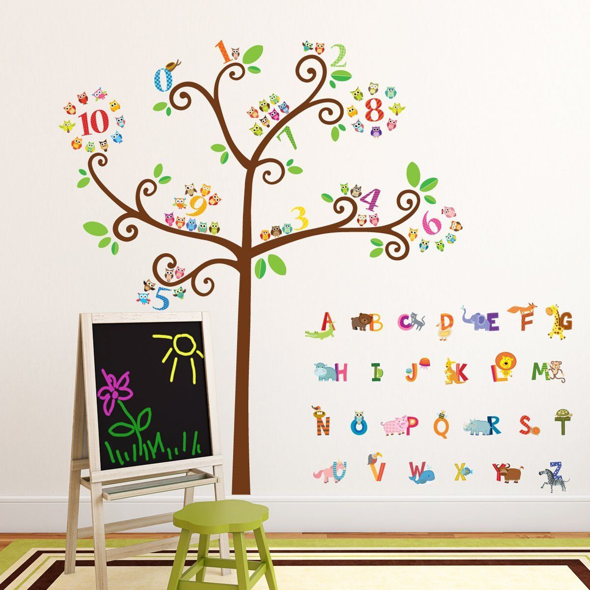 amazon com decowall da 1503 animal alphabet and numbers tree amazon com decowall da 1503 animal alphabet and numbers tree wall