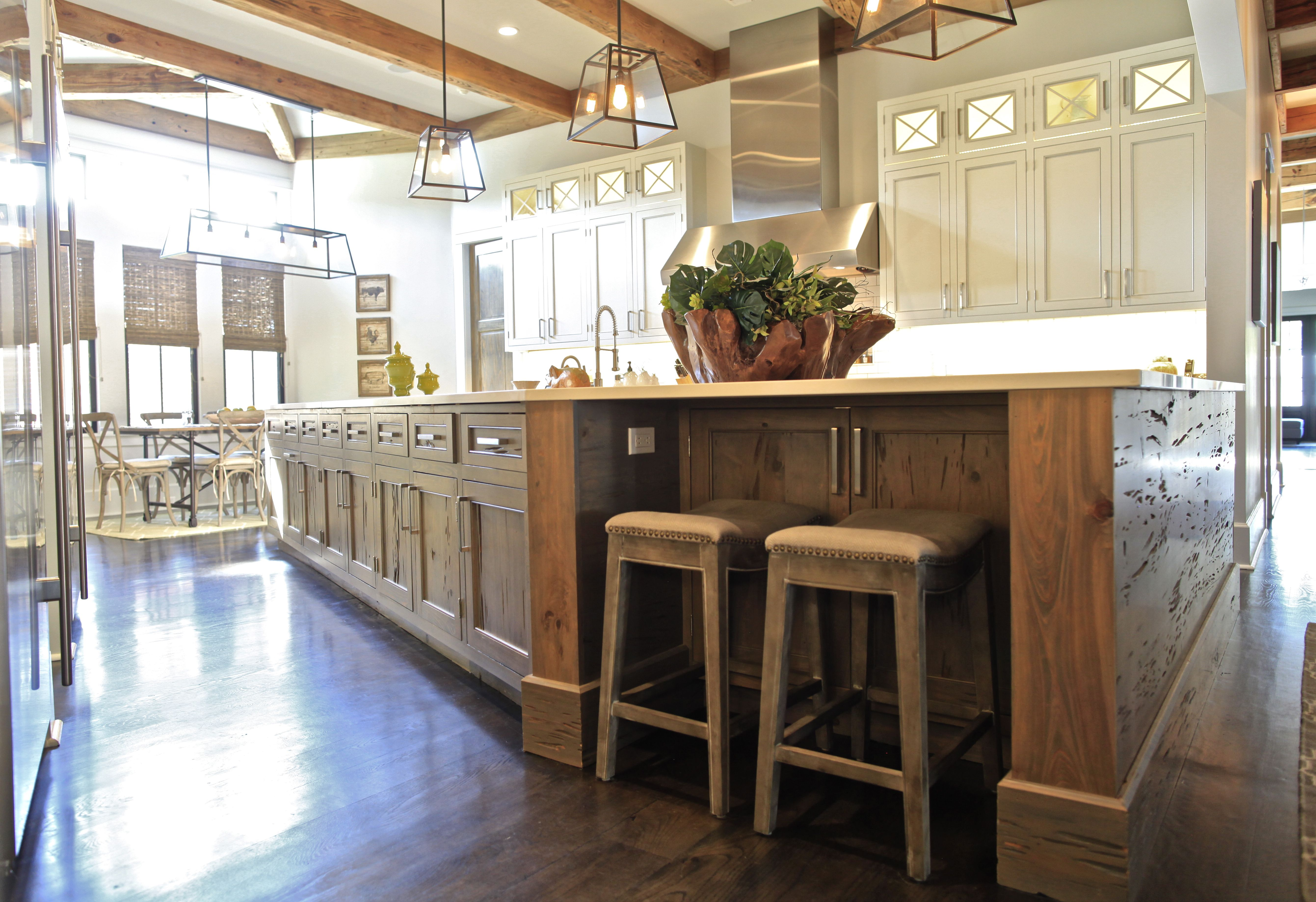 This Kitchen Features A Pecky Cypress Island And Painted Maple Inset Cabinets With Cross Buck Glass Kitchen Design Kitchen Design Trends Wood Kitchen Cabinets