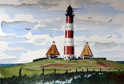 Original Aquarell Leuchtturm Westerhever Sand Leuchtturm Aquarell Wasserfarben Illustration
