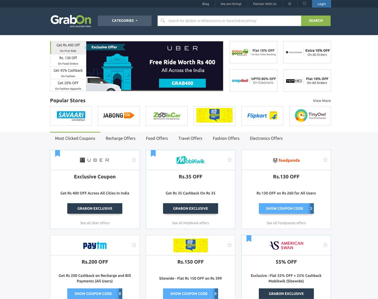 1e6061453 Find latest discount coupons and offers for all online shopping websites in  India. GrabOn will ensure you get the right promo codes and coupon codes  for ...