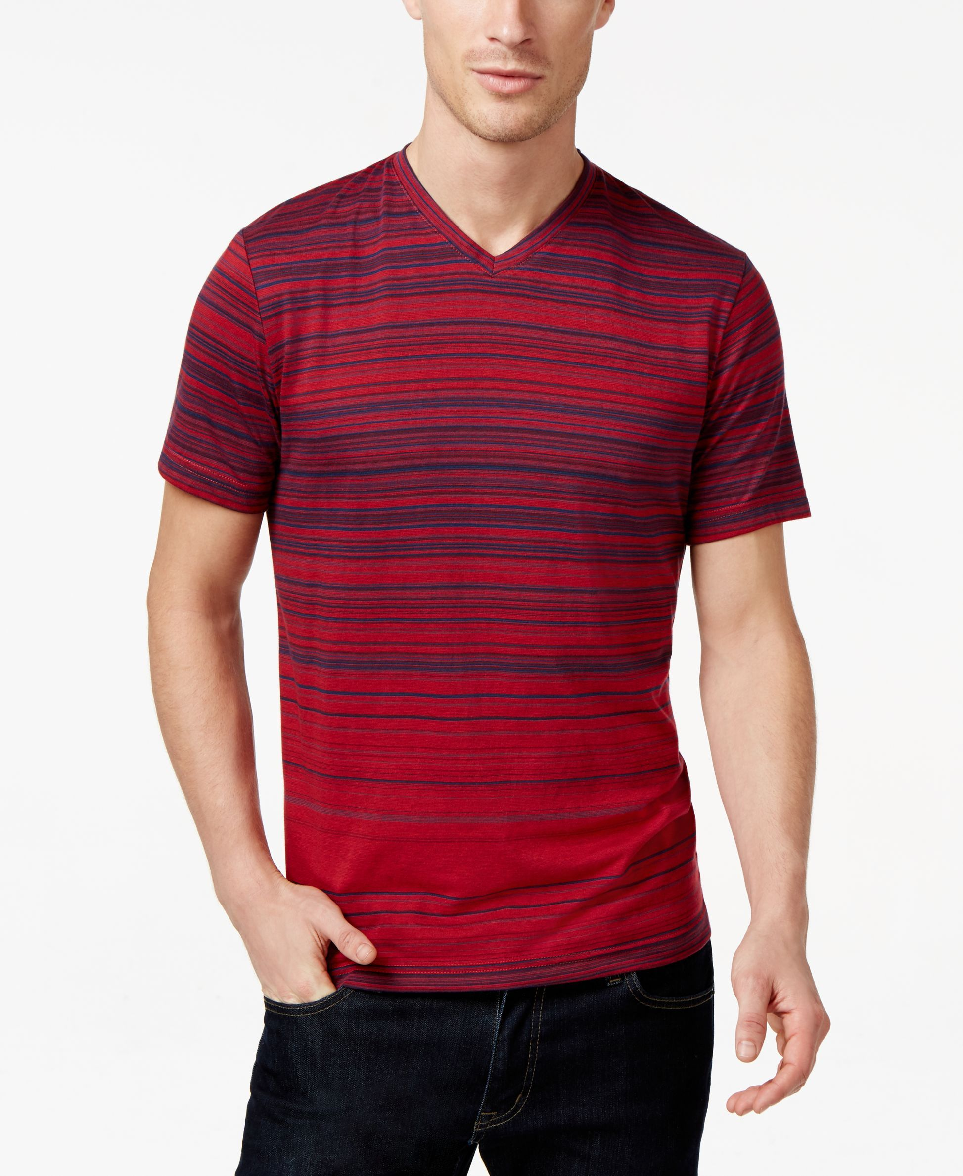 a0dc8e0bb5d4 Alfani Red Striped V-Neck T-Shirt, Only at Macy's | Stripes | T ...