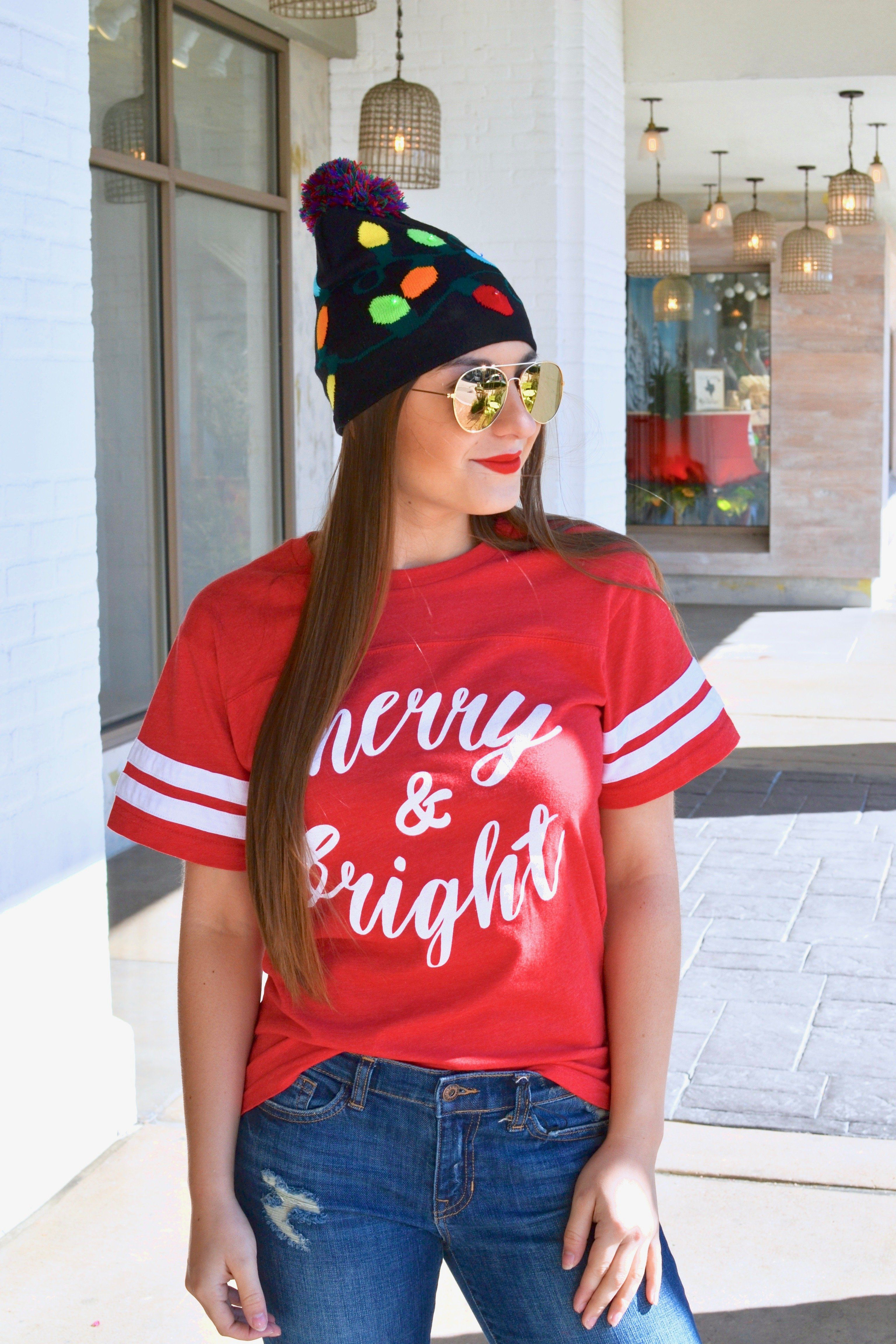 e12705b7760 Merry and Bright Christmas Jersey Tee  S   XL. It s time to get your holiday  tee! Spending time with friends and family this holiday season