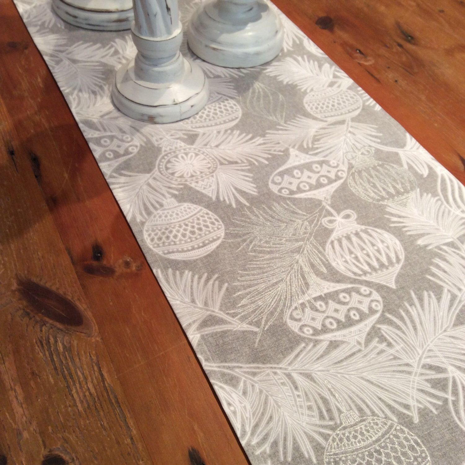 Modern Elegant Grey White Silver Christmas Table Runners Quality Various Sizes By Aeviternalcreations On Etsy