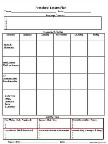 Printable Lesson Plan Template Nuttin But Preschool  Child Care