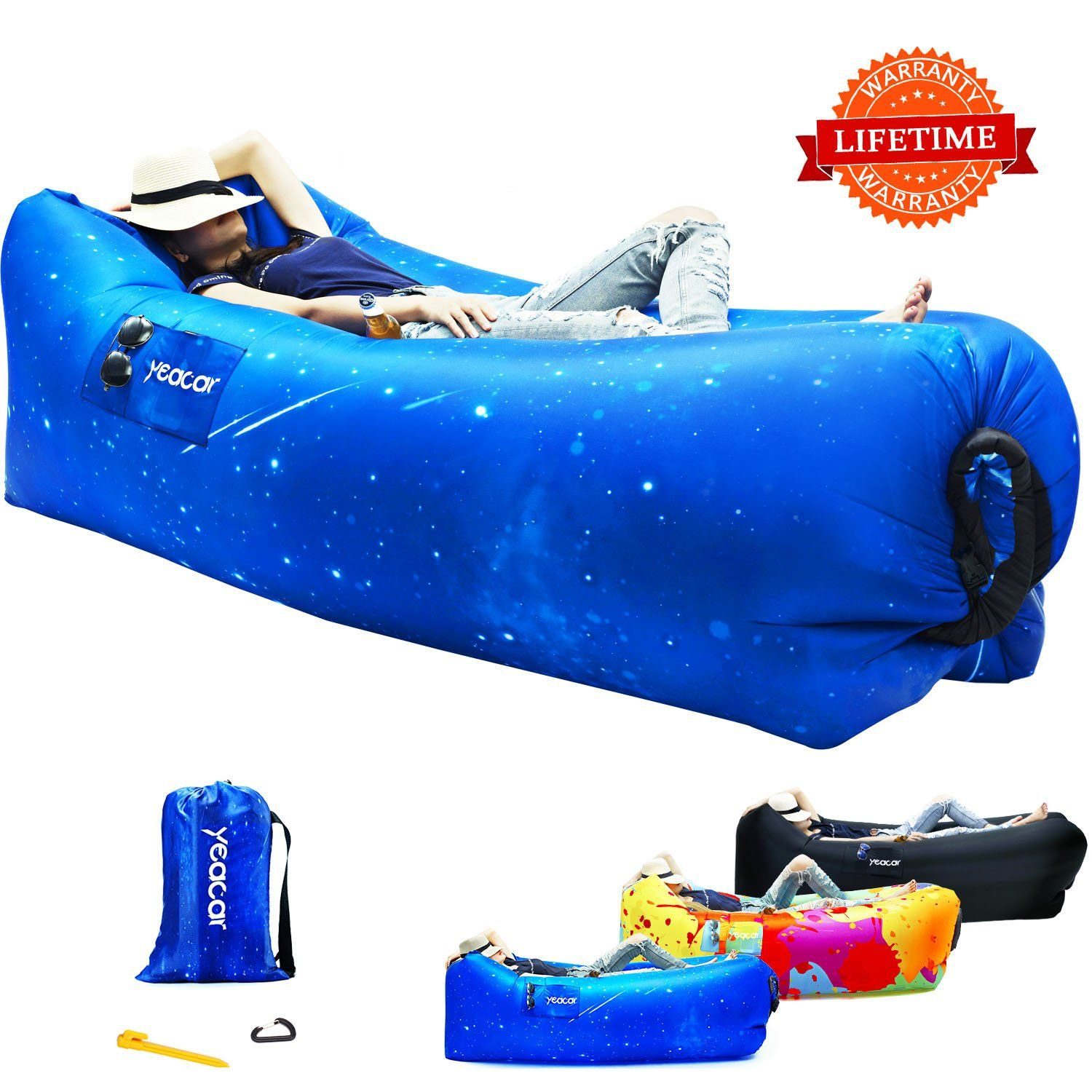 Yeacar Inflatable Lounger Air Sofa Portable Waterproof Indoor Or