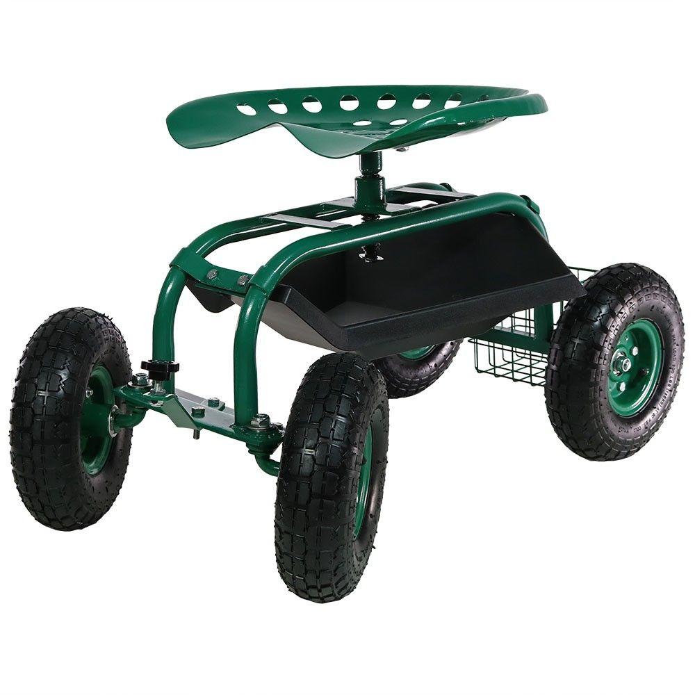 Rolling Garden Cart With Work Seat Basket And Tray Green Sunnydaze Decor Garden Cart Sunnydaze Decor Swivel Seating