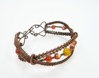 Copper bracelet, wire wrapped bracelet, handmade bracelet, wire bracelet