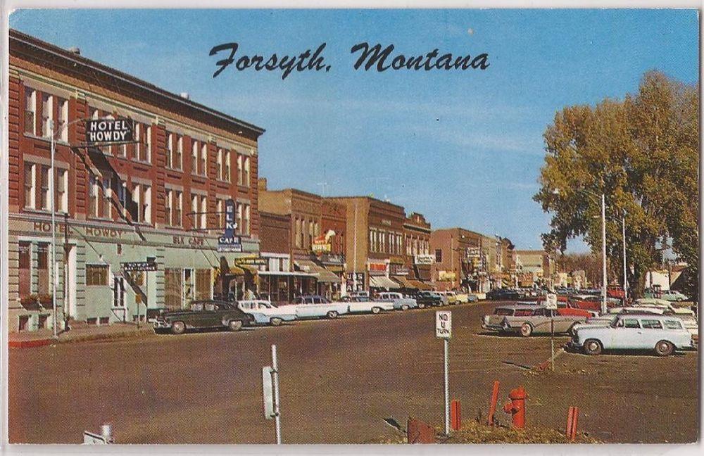 Forsyth Montana Postcard Main Street Scene W 1950s Cars Chrome Unused