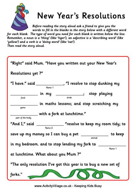 mad libs fill in the blank story new year resolutions