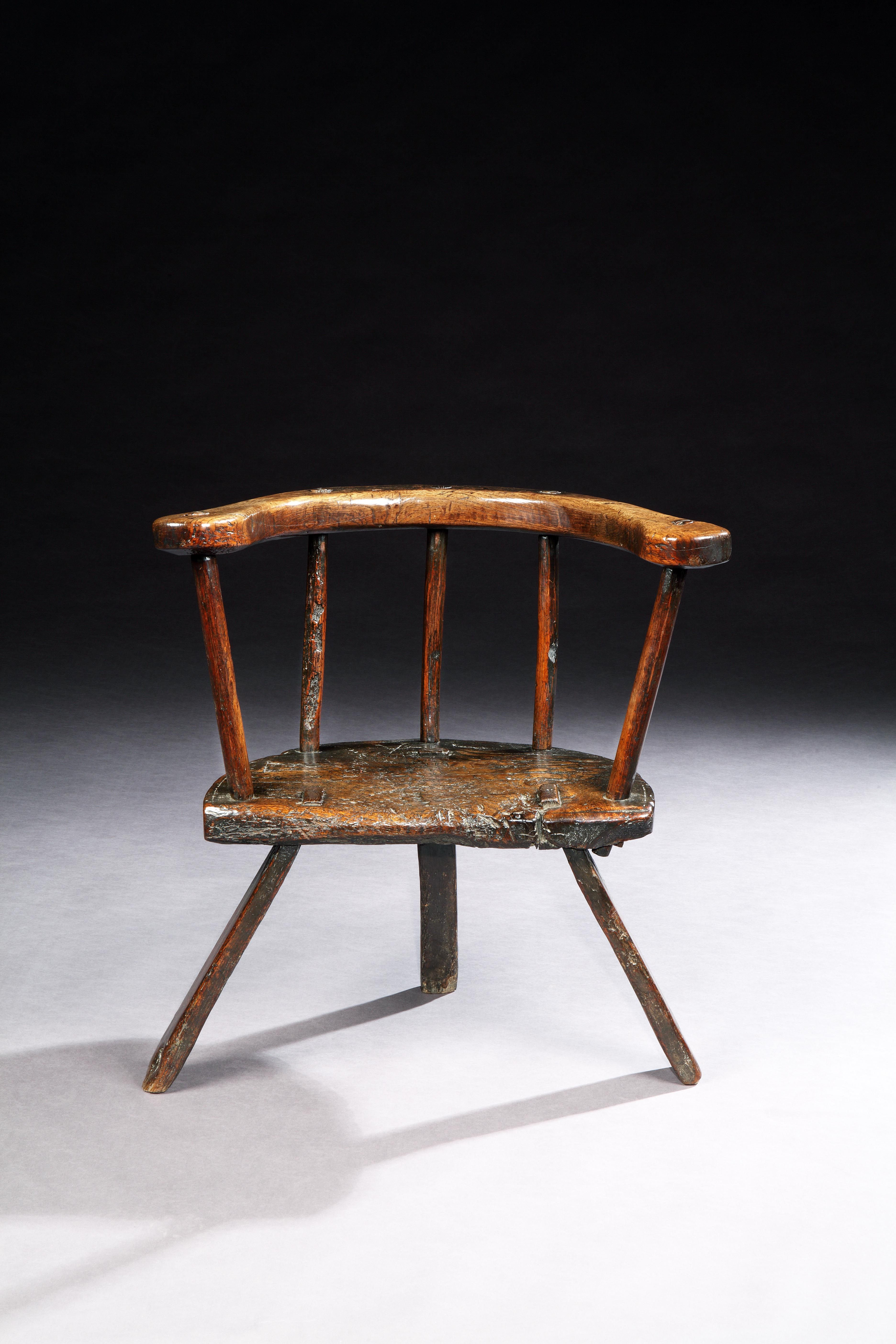 Rare And Sculptural Primitive Three Legged Windsor Chair With