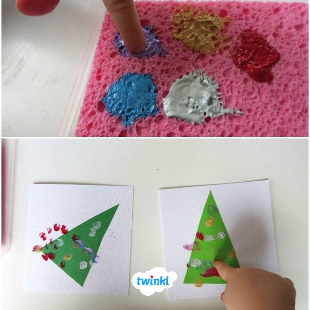 These Cute Finger Paint Christmas Tree Cards Make The