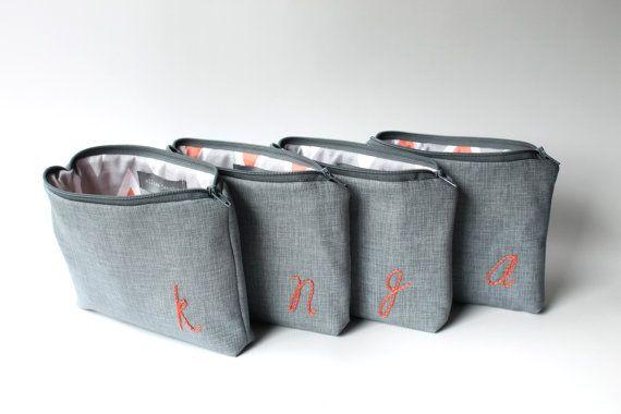 Personalized Cosmetic Bags, Monogram Bridesmaid Gift, Makeup Bags Set of 5, CHOOSE COLORS Coral Grey Pink Purple