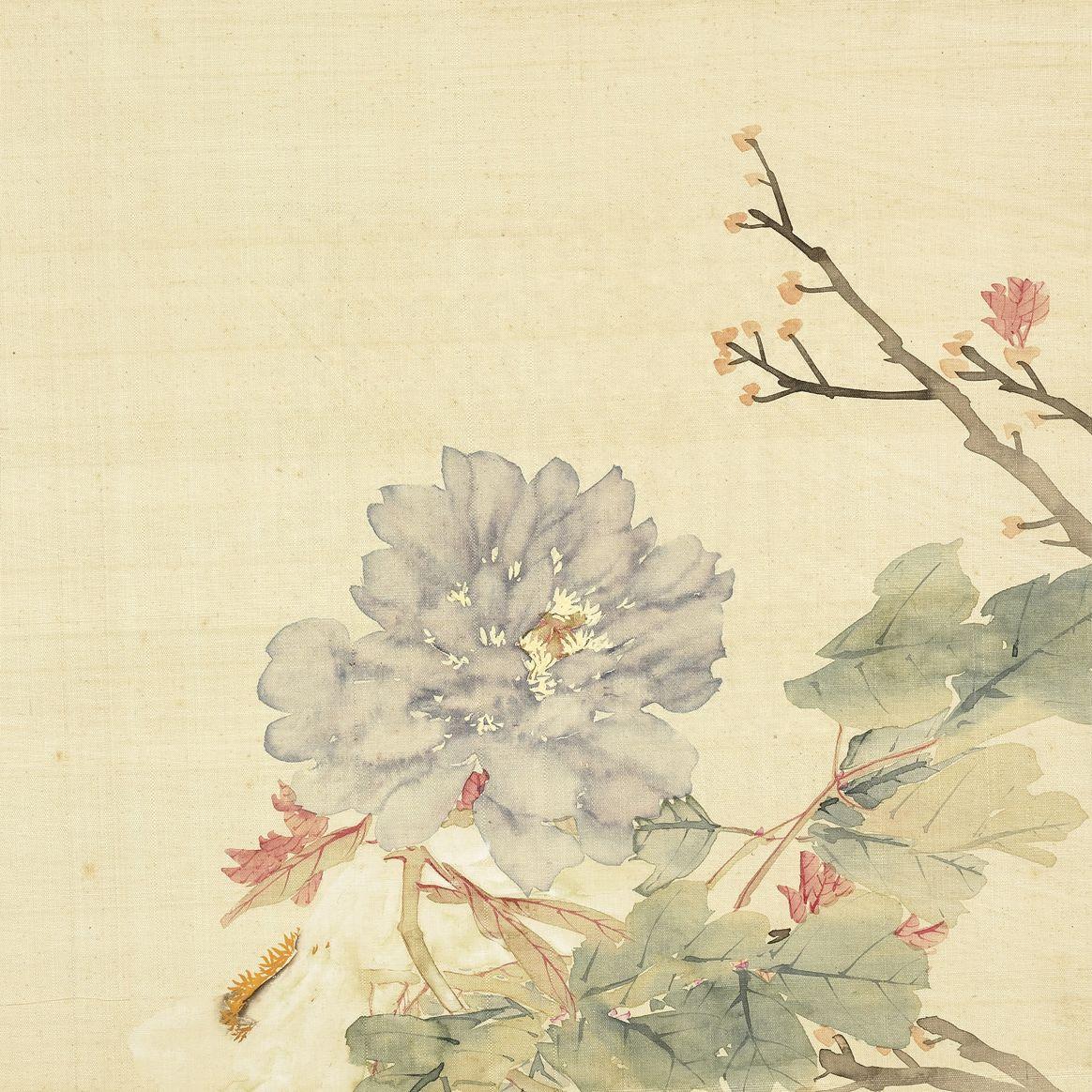 peonies li peiyu qing dynasty 1644 1911 album leaf ink and colors on silk 32 x 32 cm deko
