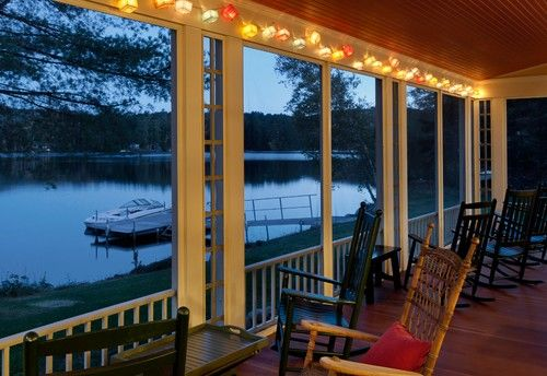 party lights summer lake house traditional porch burlington