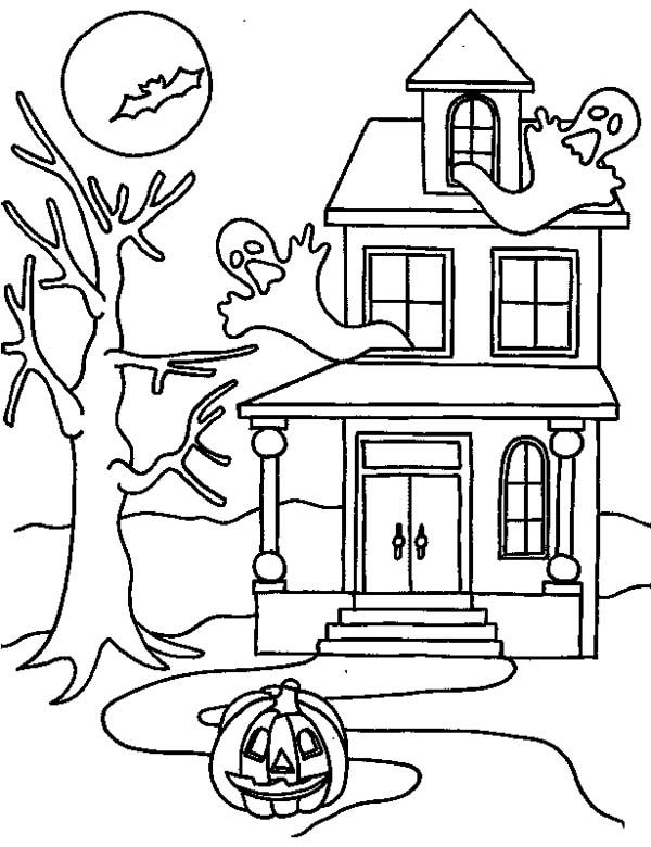 haunted house on halloween day coloring page download print