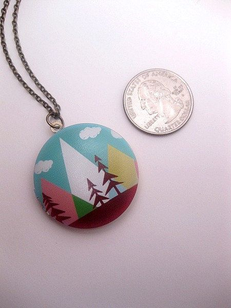 Nature Locket  Mountain Necklace  Forest by FashionCrashJewelry