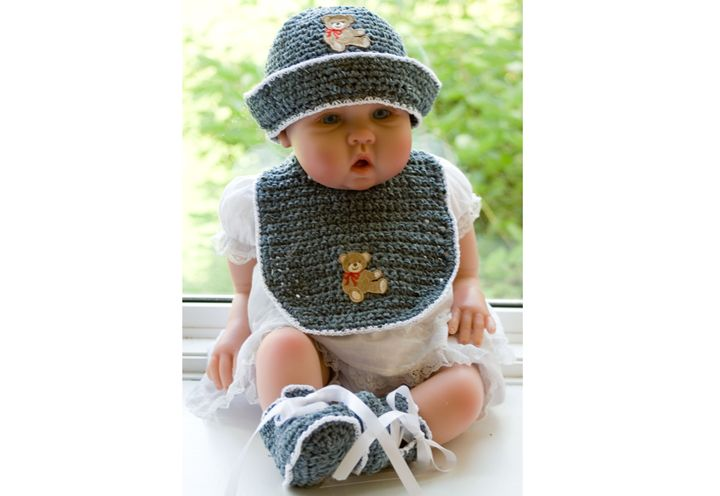 CC8-Chenille Bonnet, Booties & Bib for 0-3 Months Pattern | kids ...