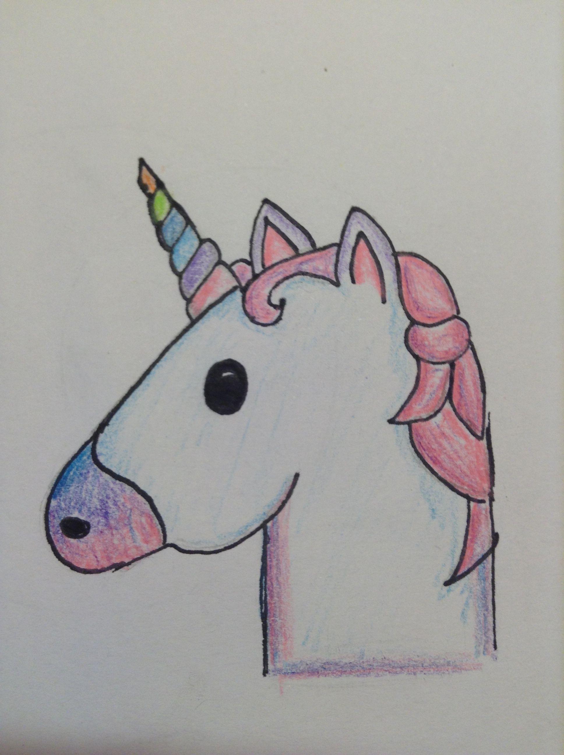 Disegno dell 39 unicorno emoji spero vi piaccia here for Disegni facili kawaii