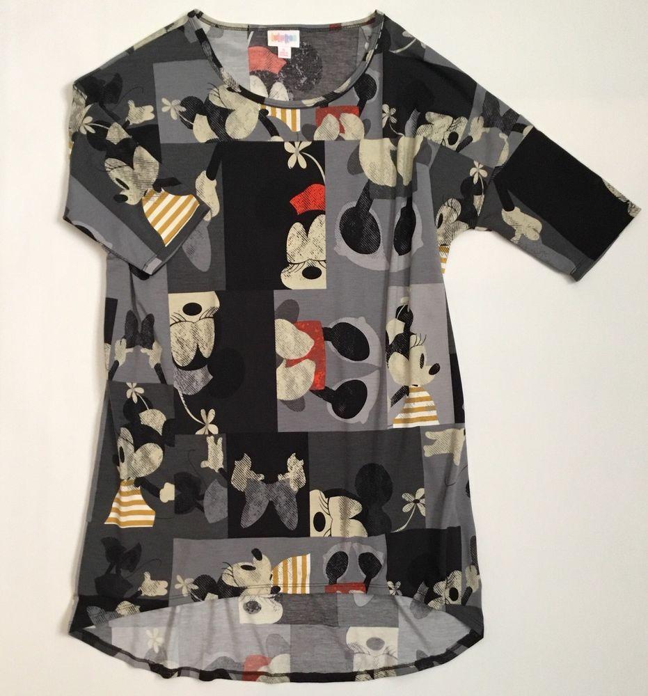 Lularoe Irma Disney Collection Minnie Mouse Unicorn Gray Black Sz S Small Lularoe Knittop Casual Clothes Casual Short Sleeve Dresses