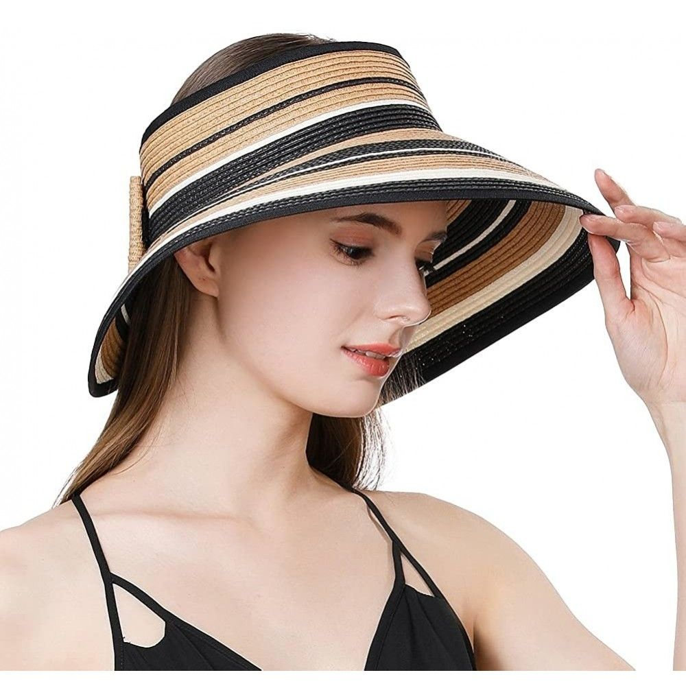 Womens Rollup Straw Visor Sun Hat Large Brim Beach Hat Upf 50 Khaki99055 Cw18natew3t In 2021 Sun Hats For Women Sun Hats Straw Visor
