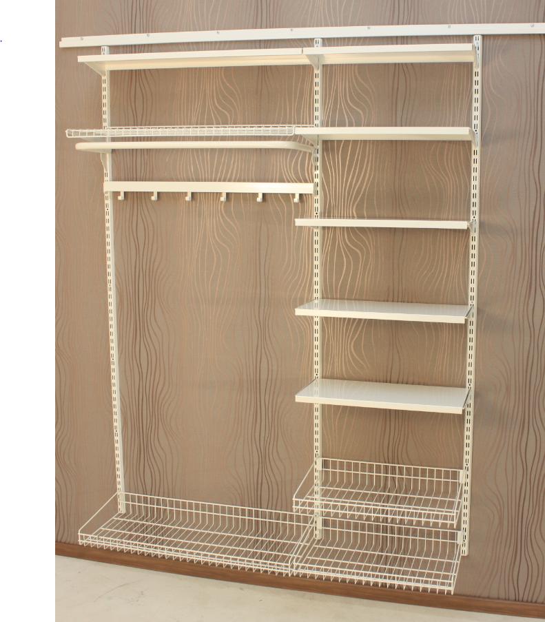 Helposti ja nopeasti muunneltava PUNTA Eloros seinähyllyjärjestelmä on kätevä ratkaisu kodin ja työpaikan säilytystarpeisiin. Tavarat pysyvät järjestyksessä hyllyillä, vaatetangoilla, koreissa ja ripustuskoukuissa. Lattia on aina helppo pitää puhtaana. Säädettävän teräshyllyjatkeen ansiosta seinätila voidaan leveydeltäkin käyttää kokonaan hyödyksi. www.punta.fi