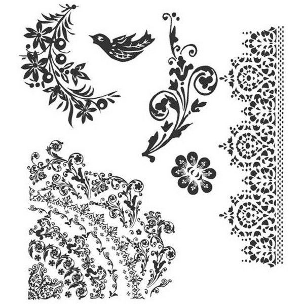 Tim Holtz Cling Rubber Stamp Set, Floral Tattoo ($24) ❤ liked on Polyvore featuring home, home decor, office accessories, rubber stamp set, tim holtz and stamp set